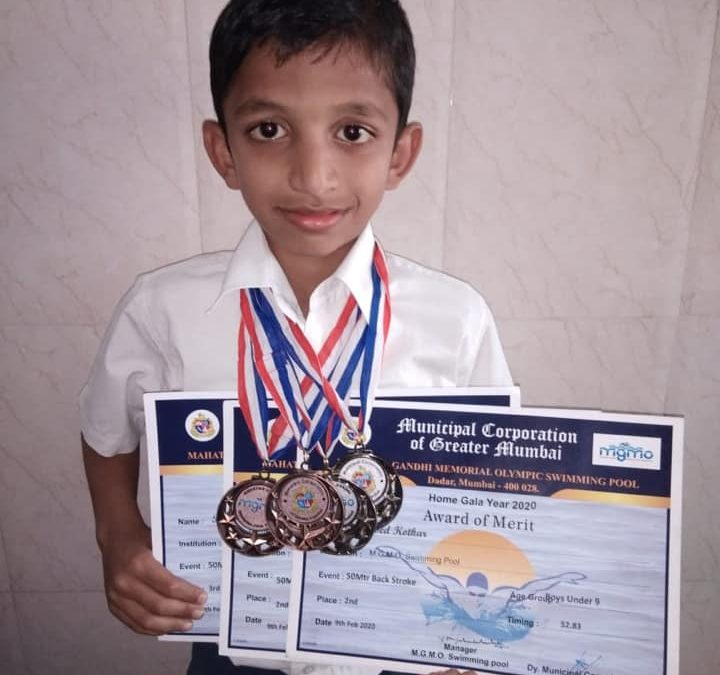 Master Rugved Kotkar wins 4 medals at MCGM swimming competition
